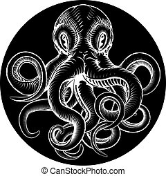 Octopus vintage woodcut engraved etched style