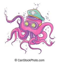 Octopus Wearing Captain Hat and Gog - Vector Illustration of...