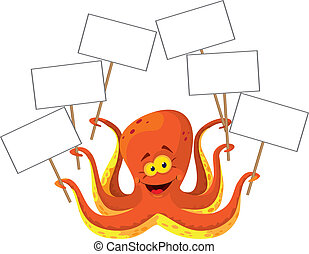 octopus with a sign - illustration of a octopus with a sign