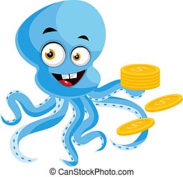 Octopus with coins, illustration, vector on white background.