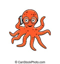Octopus with mobile phone