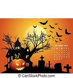 octubre, calendario, 2012