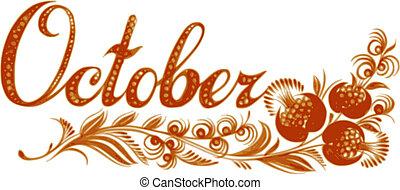 octubre, el, nombre, de, el, mes