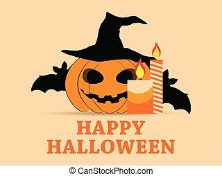 octubre, festivo, calabaza, halloween, saludo, ilustración, symbols., vector, 31st., murciélagos, candles., feriado, tarjeta, feliz