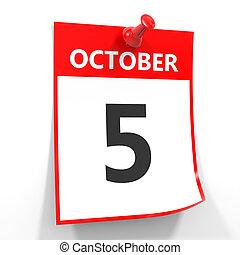 octubre, hoja, pin., 5, calendario, rojo