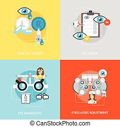 Oculist flat icons set with contact lenses eye check...