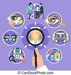 Oculist Icons Circle Composition - Oculist symbols flat...