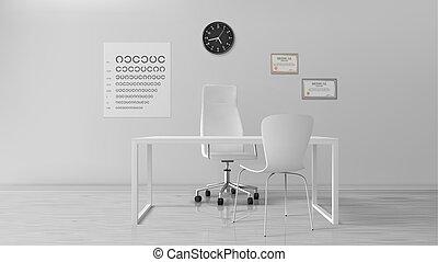 oculist, kontor, kabinett, inre, optometrist, tom