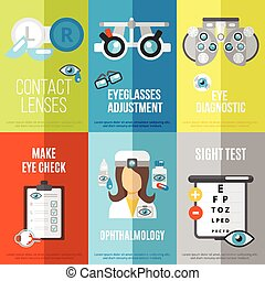 Oculist mini poster set with ophthalmology sight test...