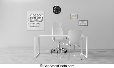 Oculist office, empty optometrist cabinet interior, ...