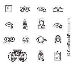 oculist, pretas, ícones