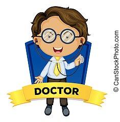 ocupação, wordcard, doutor masculino