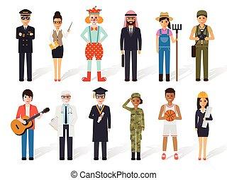 ocupación, gente, profesión