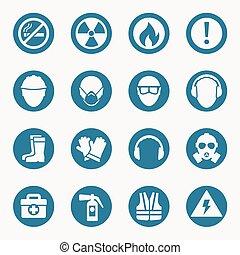 ocupacional, salud, iconos, y, seguridad, señales