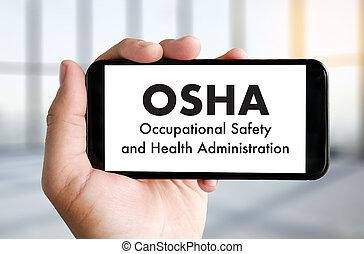 ocupacional, seguridad, y, salud, administración, osha, equipo negocio, trabajo