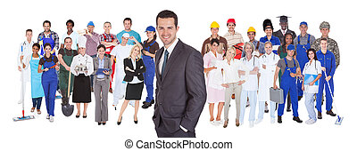 ocupaciones, diferente, longitud completa, gente