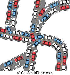 ocupado, automático, conduzir, geleia, tráfego, carros,...