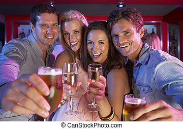 ocupado, barzinhos, pessoas, jovem, divertimento, grupo,...