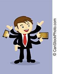 ocupado, brazos múltiples, vector, multitáreas, hombre de negocios, caricatura