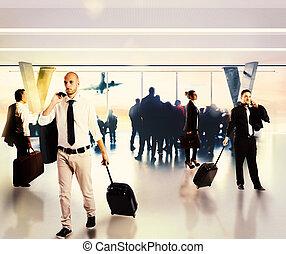 ocupado, businesspeople, em, a, aeroporto