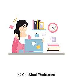 ocupado, computador, escritório, trabalhando, sentando, executiva, laptop, trabalhando, personagem, jovem, ilustração, momento, vetorial, escrivaninha, empregado, cansado
