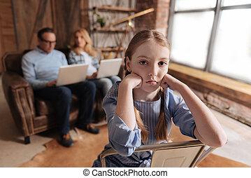 ocupado, esperando, pais, criança, lar, frustrado