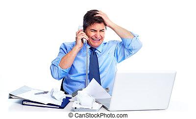 ocupado, homem negócios, com, laptop, computer.