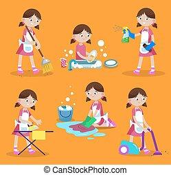 ocupado, illustration., home:, casa, pratos, chão, varredura, cleaning., lavagem, janela, vetorial, limpeza, vácuo, menina, ferro