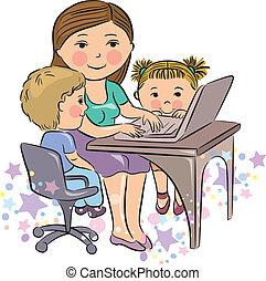 ocupado, mãe, trabalhos, com, crianças