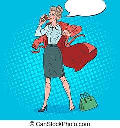 ocupado, mujer, arte, work., ilustración negocio, mañana,...
