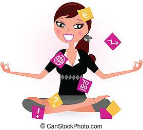 ocupado, mujer, yoga, relajar, notas, ilustración, vector, position., retro, tratar
