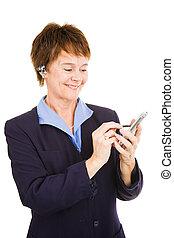 ocupado, mulher negócio