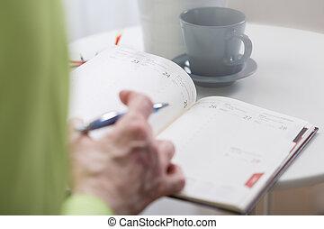 ocupado, mulher segura, semanal, organizador