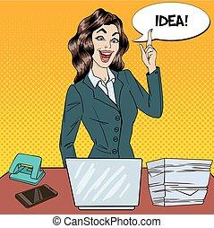 ocupado, multi, mujer, arte, oficina, empresa / negocio, work., tenido, idea, ilustración, vector, tasking, taponazo