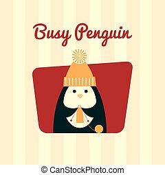 ocupado, tejido de punto, retro, pingüino