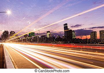 ocupado, tráfico, en, un, moderno, ciudad