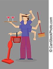 ocupado, vector, multitarea, ama de casa, ilustración