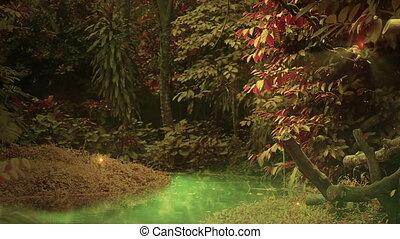 oczarowany, las, pętla