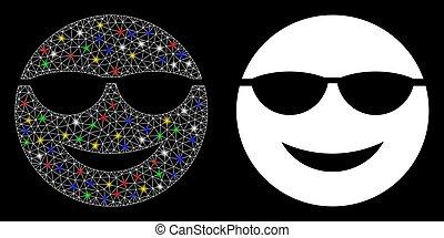 oczko, jarzący się, smiley, sunglasses, groch, sieć, ikona, lekki