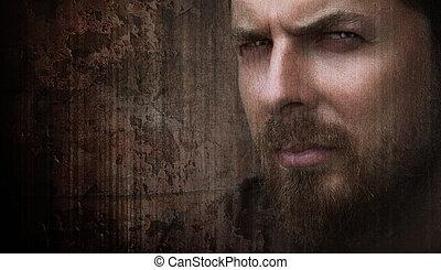 oczy, ładny, artystyczny, portret, chłodny, człowiek