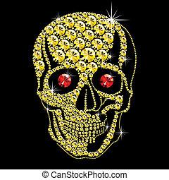 oczy, diament, czaszka, złoty, czerwony
