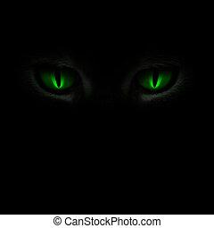 oczy, jarzący się, zielony, kot, ciemny