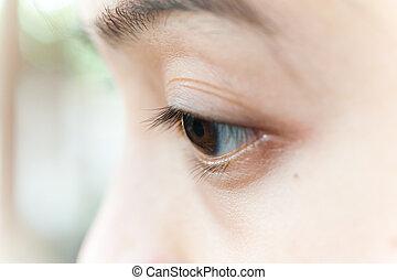 oczy, kobieta, closeup, część, twarz