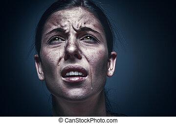 oczy, kobieta, do góry, czarnoskóry, płacz, skóra, zamknięcie, portret, zgniótł