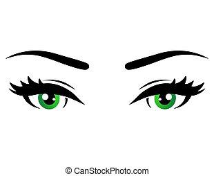 oczy, kobieta, zielony