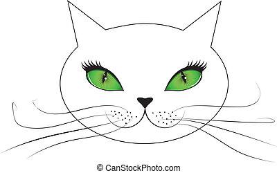 oczy, kot, zieleń biała, twarz