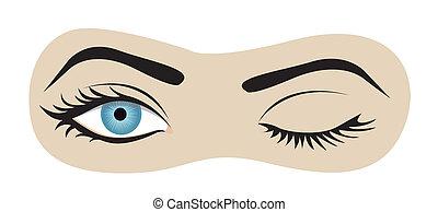 oczy, migoczący