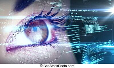oczy, przeglądnięcie, holographic