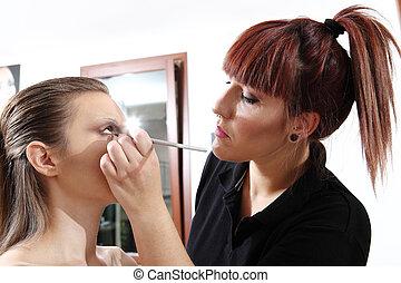 oczy, zwracający się, artysta, makijaż, tusz do rzęs, wzór
