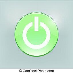 od, dostarczcie energii elektrycznej guzik, jarzący się, zielony, albo